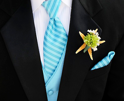 lapel with flower and starfish